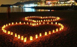 идеальное сердце из 100 свечей